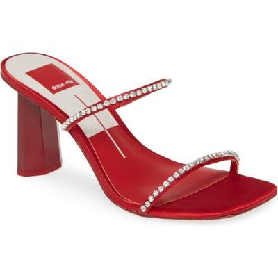 Dolce Vita Naylin Crystal Embellished Slide Sandal- Red