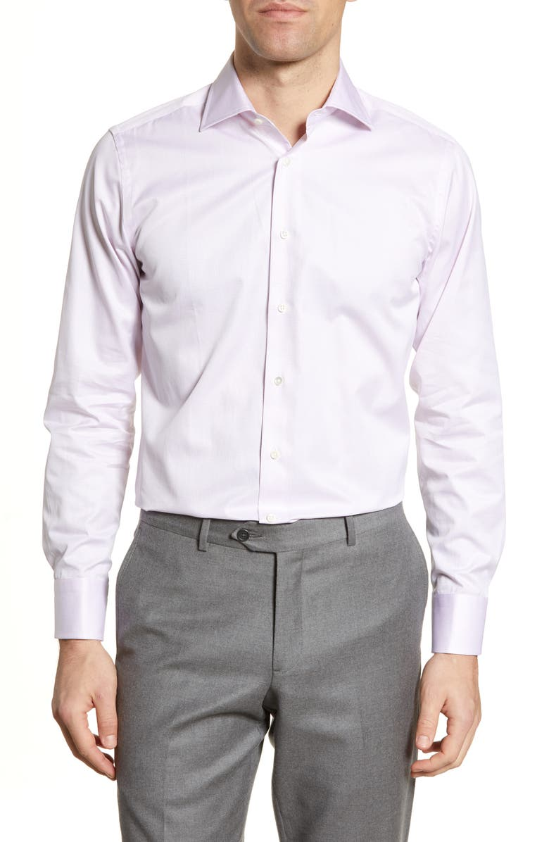 CANALI Regular Fit Geometric Dress Shirt, Main, color, PINK