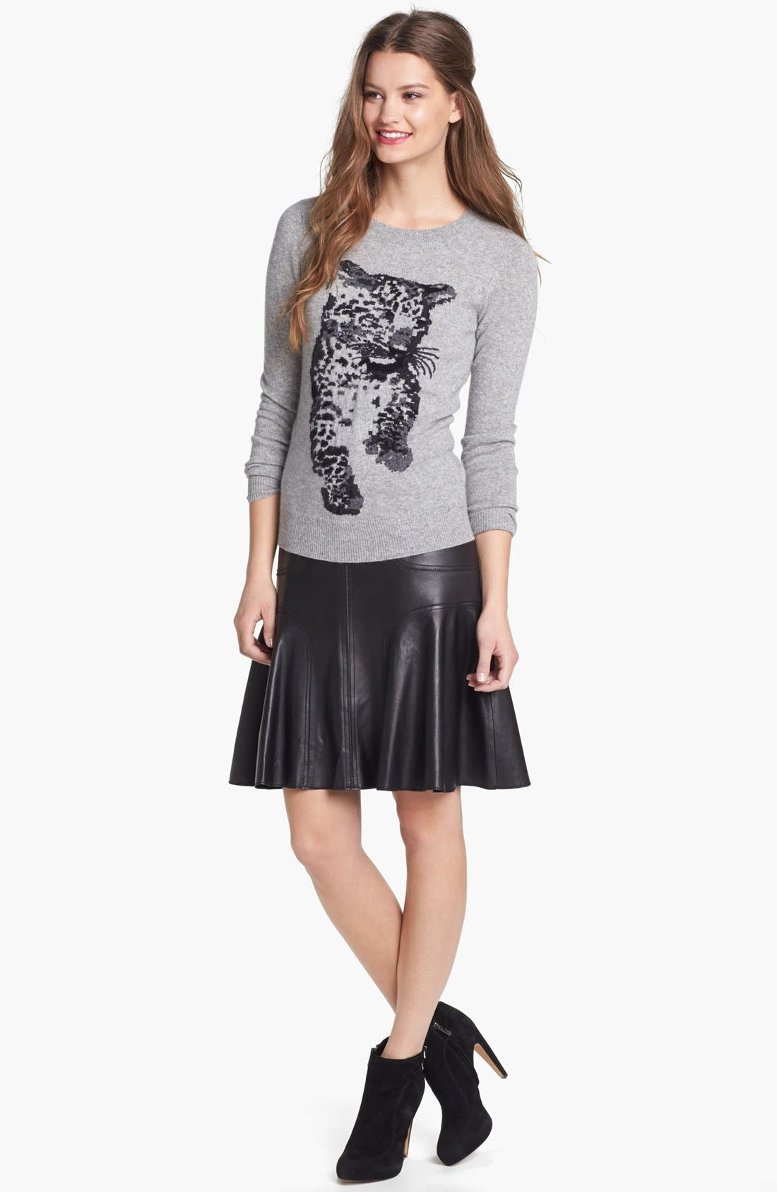 ,                             Leather A-Line Skirt,                             Alternate thumbnail 2, color,                             001