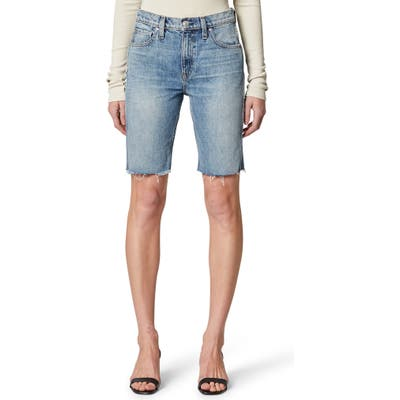 Hudson Jeans Freya High Waist Cutoff Denim Biker Shorts, Blue
