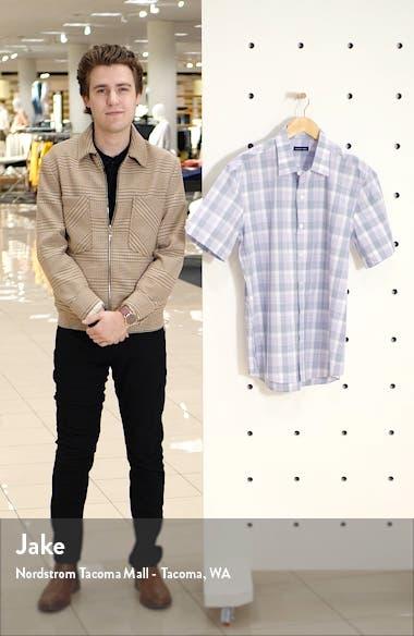 Grafas Regular Fit Plaid Short Sleeve Button-Up Shirt, sales video thumbnail