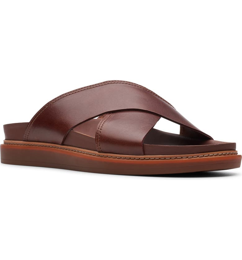 CLARKS<SUP>®</SUP> Trace Cross Sandal, Main, color, MAHOGANY LEATHER