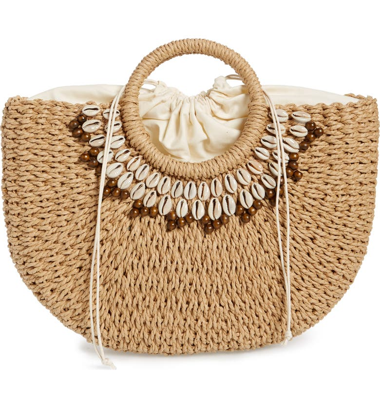 NORDSTROM Shell & Bead Straw Top Handle Bag, Main, color, NATURAL