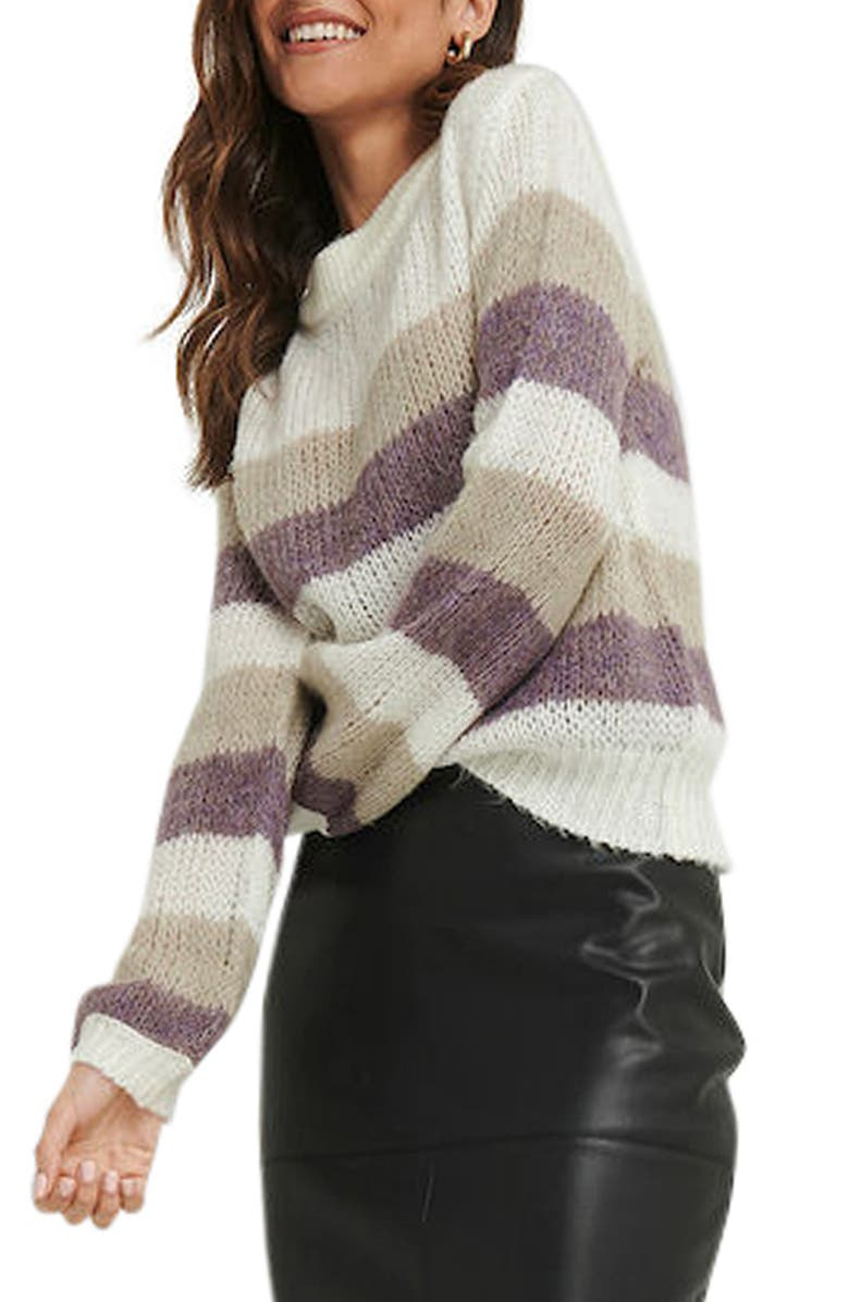 NA-KD Stripe Balloon Sleeve Sweater, Main, color, STRIPED