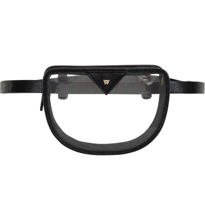 KELLY WYNNE Clear BRB Convertible Crossbody & Belt Bag, Main, color, BLACK