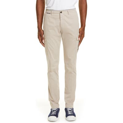 Eleventy Flat Front Stretch Cotton Cargo Dress Pants Brown