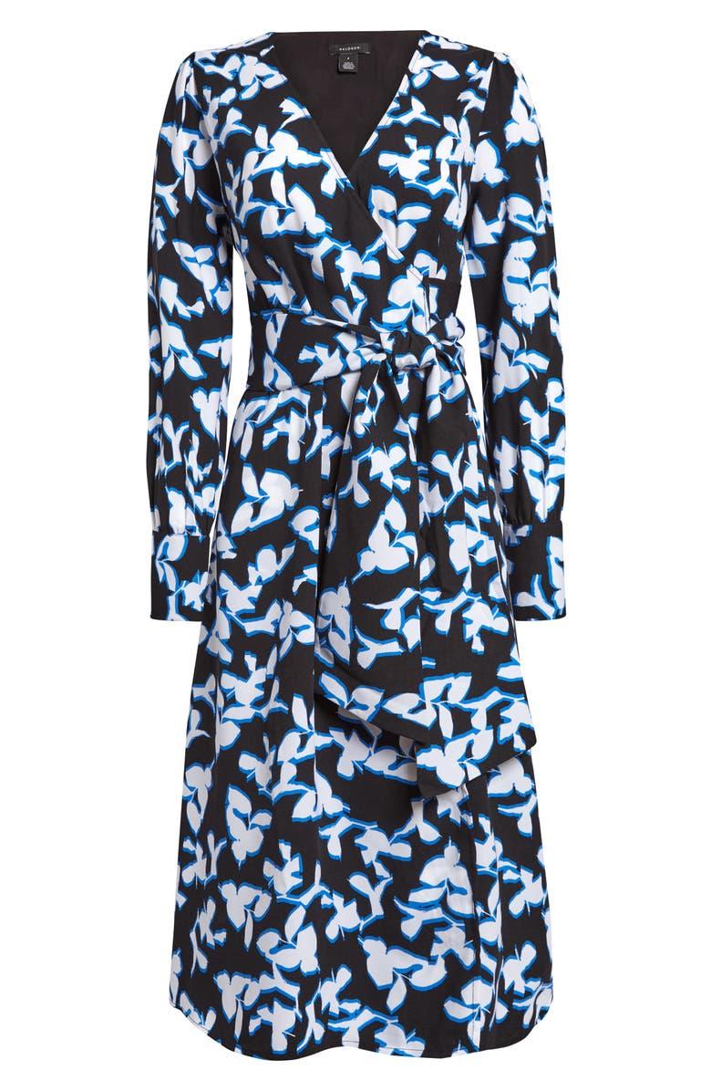HALOGEN<SUP>®</SUP> Long Sleeve Wrap Midi Dress, Main, color, BLACK FLORAL