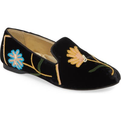 Birdies Starling Embroidered Flat, Black