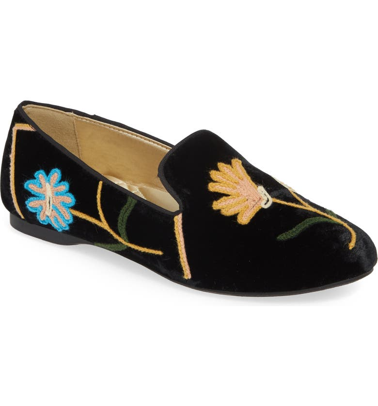 BIRDIES Starling Embroidered Flat, Main, color, BLACK FLORAL SUEDE