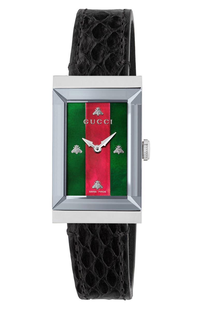 GUCCI G-Frame Genuine Python Strap Watch, 21mm x 34mm, Main, color, BLACK/ MOP/ SILVER