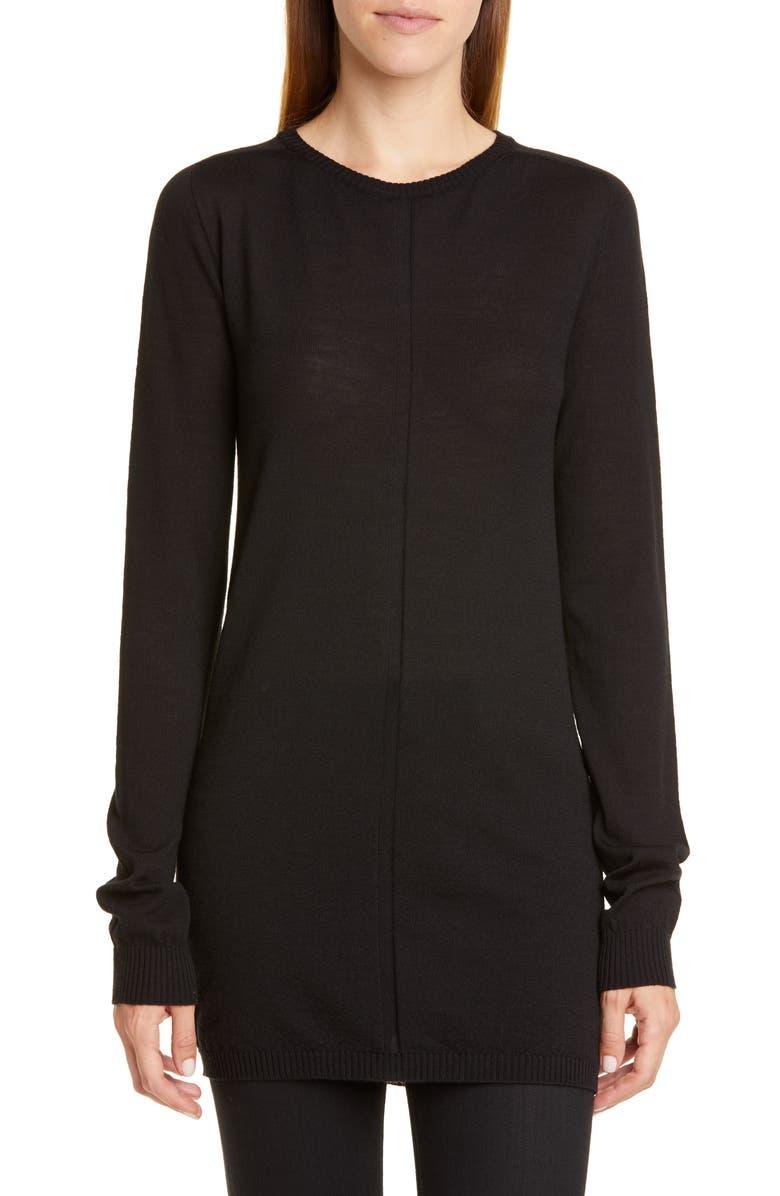 RICK OWENS Merino Wool Sweater, Main, color, BLACK