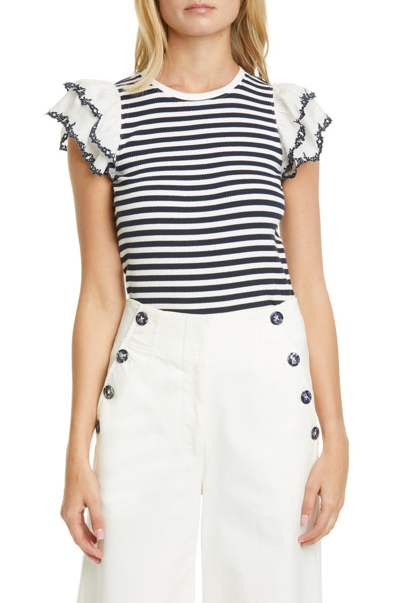 TANYA TAYLOR Adrien Stripe Frill Sleeve Stretch Cotton Top, Main, color, NAVY/ WHITE