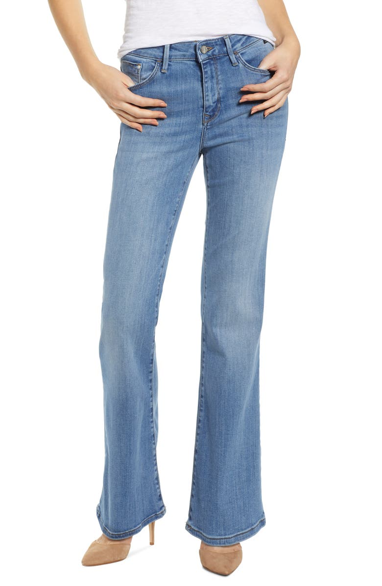 MAVI JEANS Sydney Brushed Flared Leg Jeans, Main, color, LIGHT BRUSH SUPER