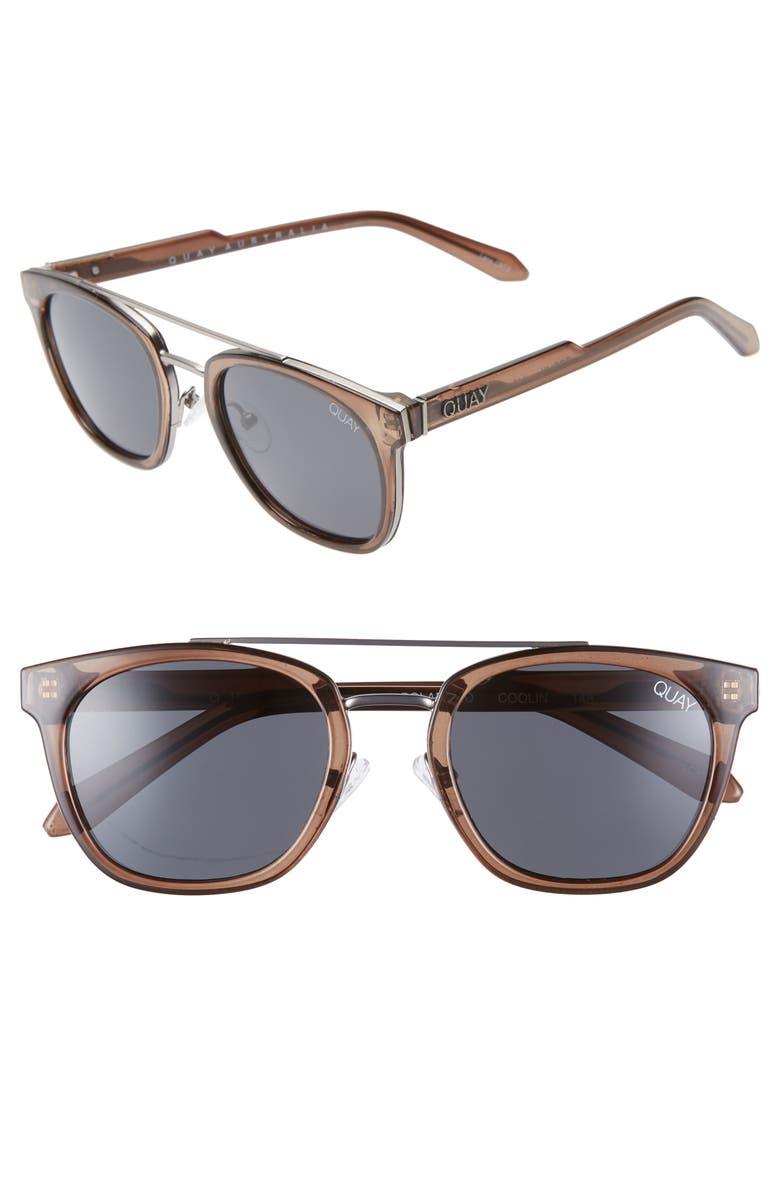 QUAY AUSTRALIA Coolin 51mm Polarized Sunglasses, Main, color, OLIVE/ SMOKE