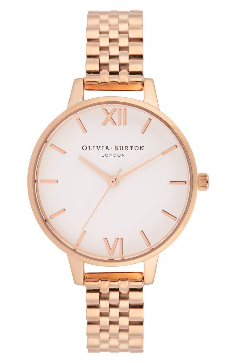 OLIVIA BURTON Bracelet Watch, 34mm, Main, color, ROSE GOLD/ WHITE/ ROSE GOLD