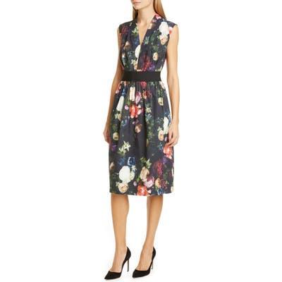 Adam Lippes Floral Print Stretch Poplin Dress, Black
