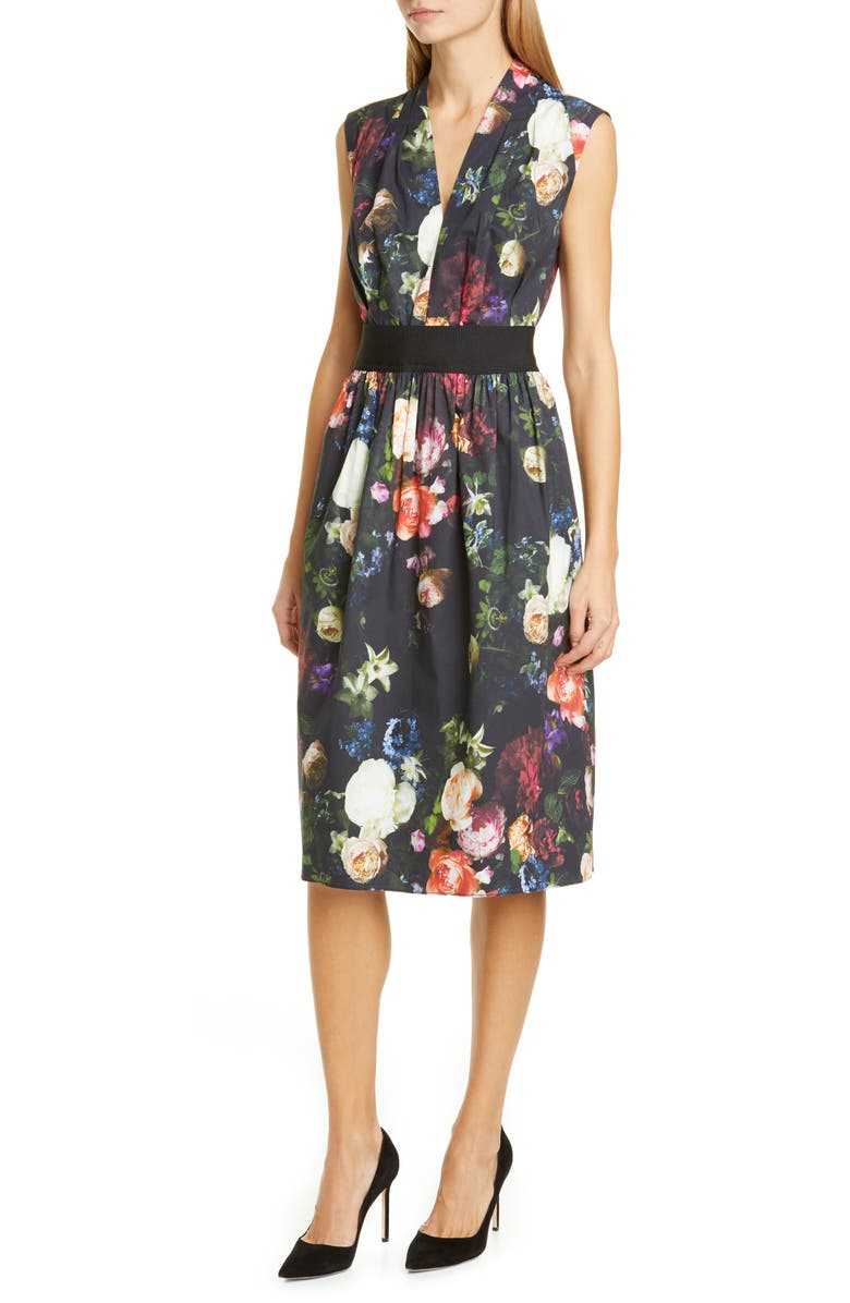 ADAM LIPPES Floral Print Stretch Poplin Dress, Main, color, MULTI FLORAL