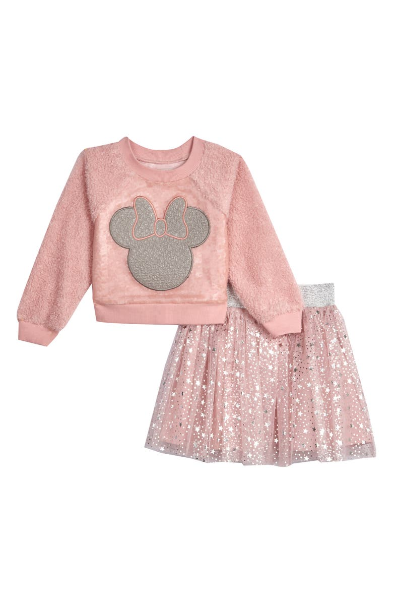 PIPPA & JULIE x Disney Minnie Mouse Faux Shearling & Sequin Sweatshirt & Tutu Skirt Set, Main, color, BLUSH