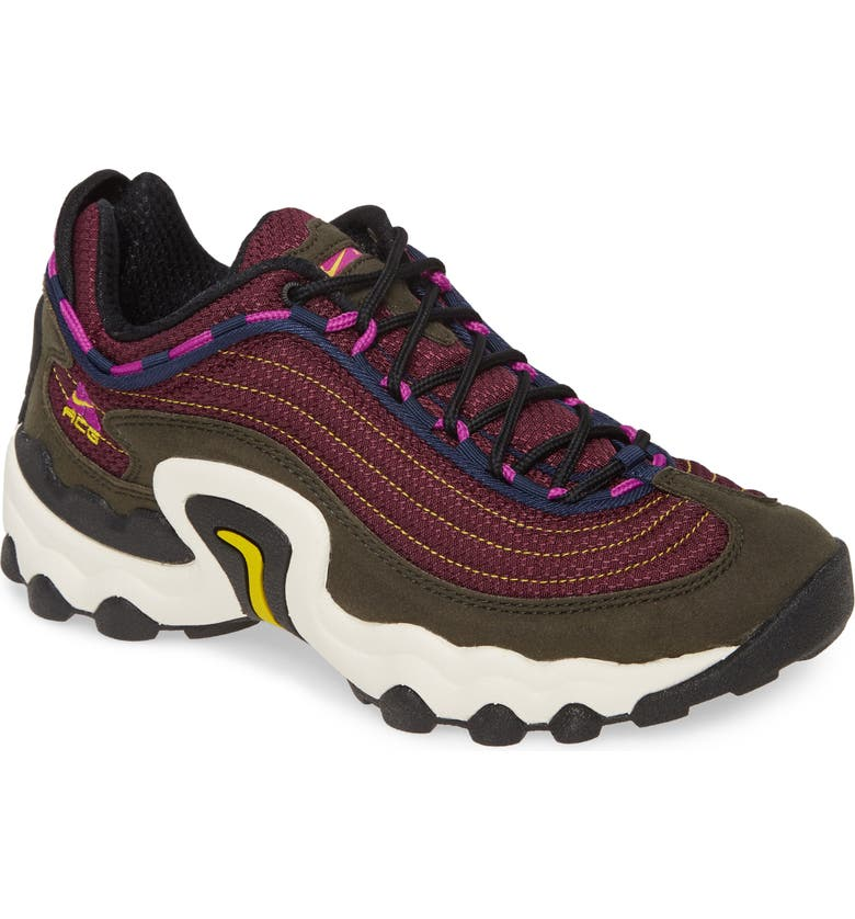 NIKE ACG Air Skarn Sneaker, Main, color, SEQUOIA/ VIVID PURPLE/ CITRON
