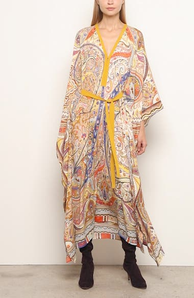 Belted Paisley Cover-Up Caftan, video thumbnail