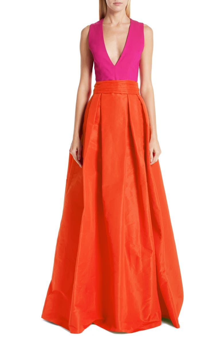 SACHIN & BABI Savoia Colorblock A-Line Gown, Main, color, FUCHSIA
