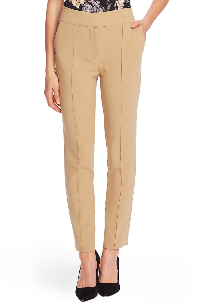 VINCE CAMUTO Stretch Crepe Skinny Pants, Main, color, LATTE