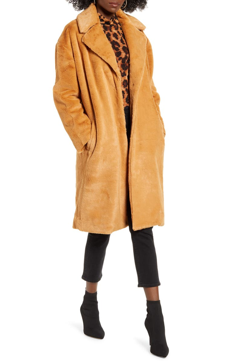 MURAL Long Faux Fur Coat, Main, color, CARAMEL