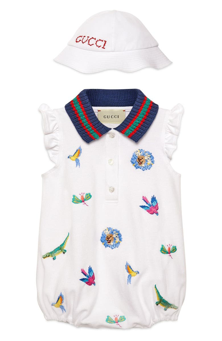 Gucci Embroidered Bubble Bodysuit Hat Gift Set Baby