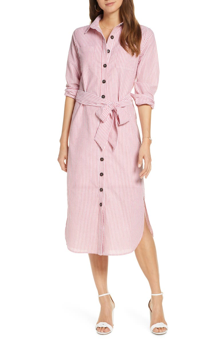 1901 Stripe Belted Shirtdress, Main, color, 610