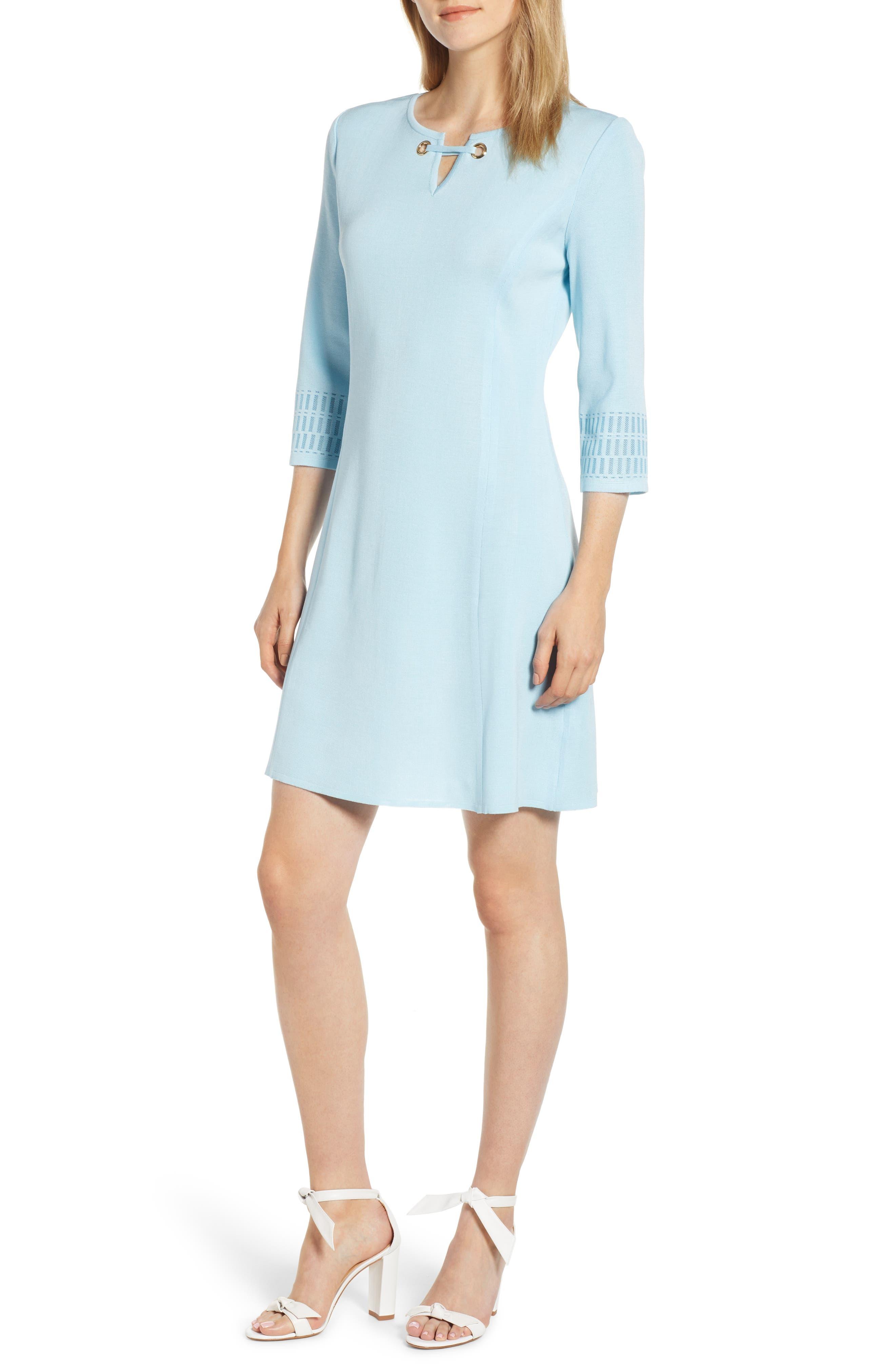 Ming Wang Grommet Detail A-Line Dress, Blue