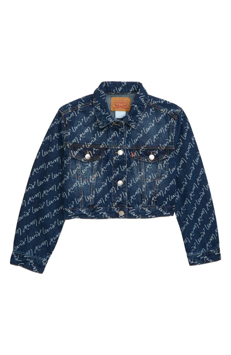 LEVI'S<SUP>®</SUP> Logo Print Oversize Crop Trucker Jacket, Main, color, WEST THIRD