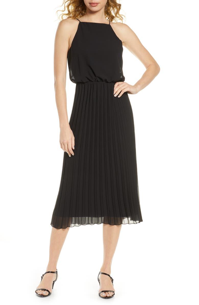 SAM EDELMAN Pleated Chiffon Midi Dress, Main, color, BLACK