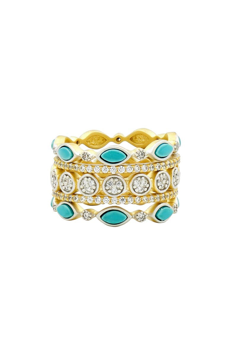 FREIDA ROTHMAN Fleur Bloom Set of 5 Stackable Rings, Main, color, WHITE/ GOLD