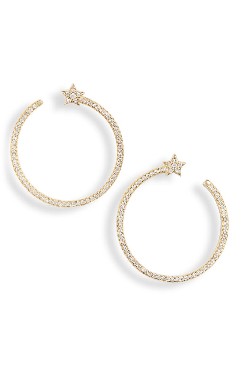 BRACHA Shooting Star Hoop Earrings, Main, color, GOLD / CUBIC ZIRCONIA