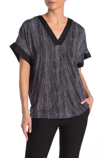 Image of Donna Karan V-Neck Elbow Sleeve Pajama Top