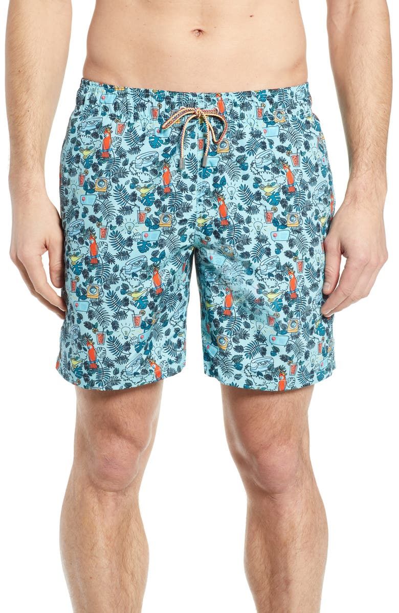 BUGATCHI Print Swim Trunks, Main, color, AQUA