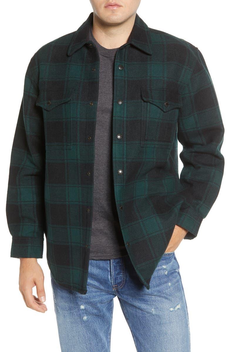 FILSON Beartooth Plaid Shirt Jacket, Main, color, BLACK GREEN