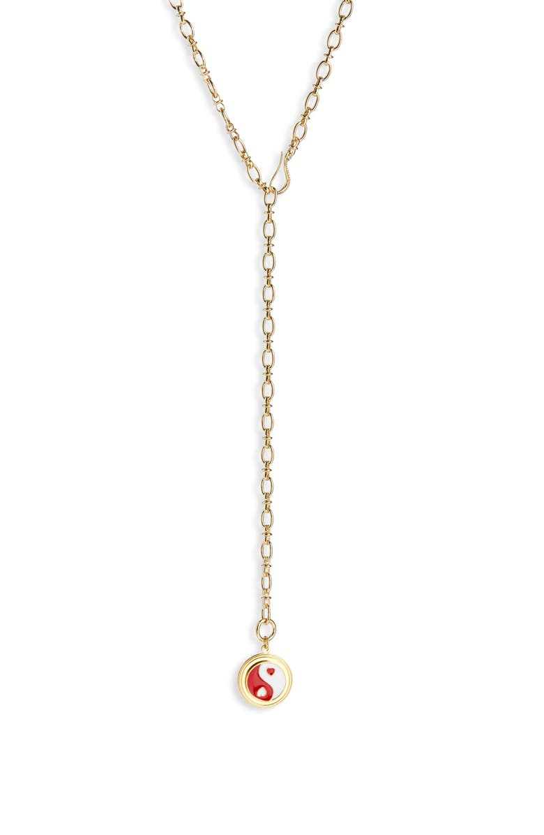 WILHELMINA GARCIA Yin Yang Adjustable Y-Necklace, Main, color, RED/ GOLD