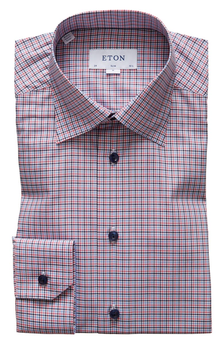 ETON Slim Fit Check Dress Shirt, Main, color, 651