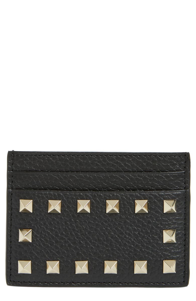 VALENTINO GARAVANI Rockstud Calfskin Leather Card Holder, Main, color, NERO ROCKSTUD