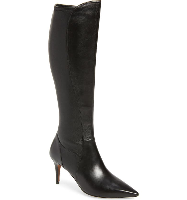 LINEA PAOLO Parc Knee High Boot, Main, color, BLACK LEATHER
