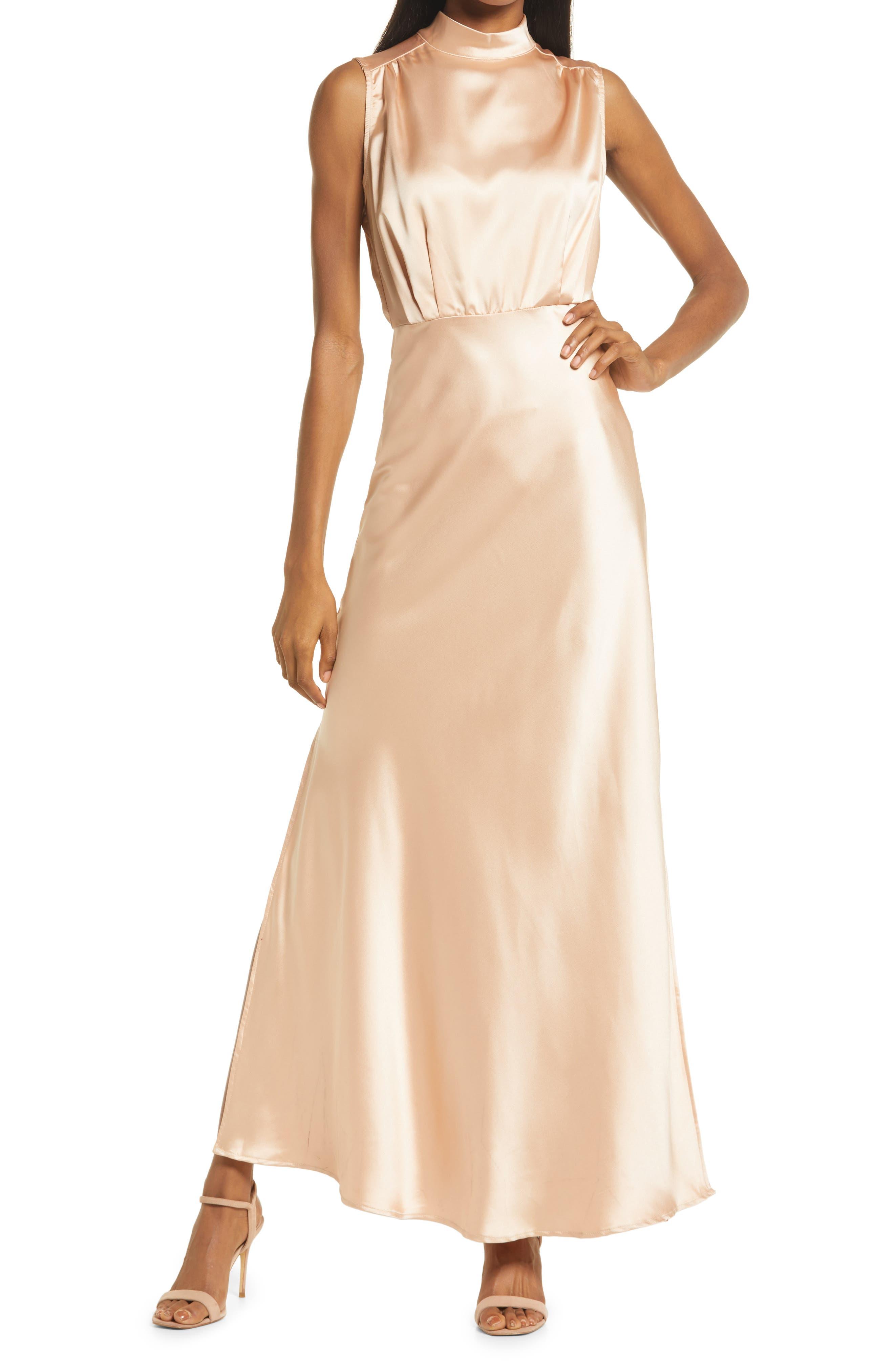 Classic Elegance Mock Neck Sleeveless Satin Gown