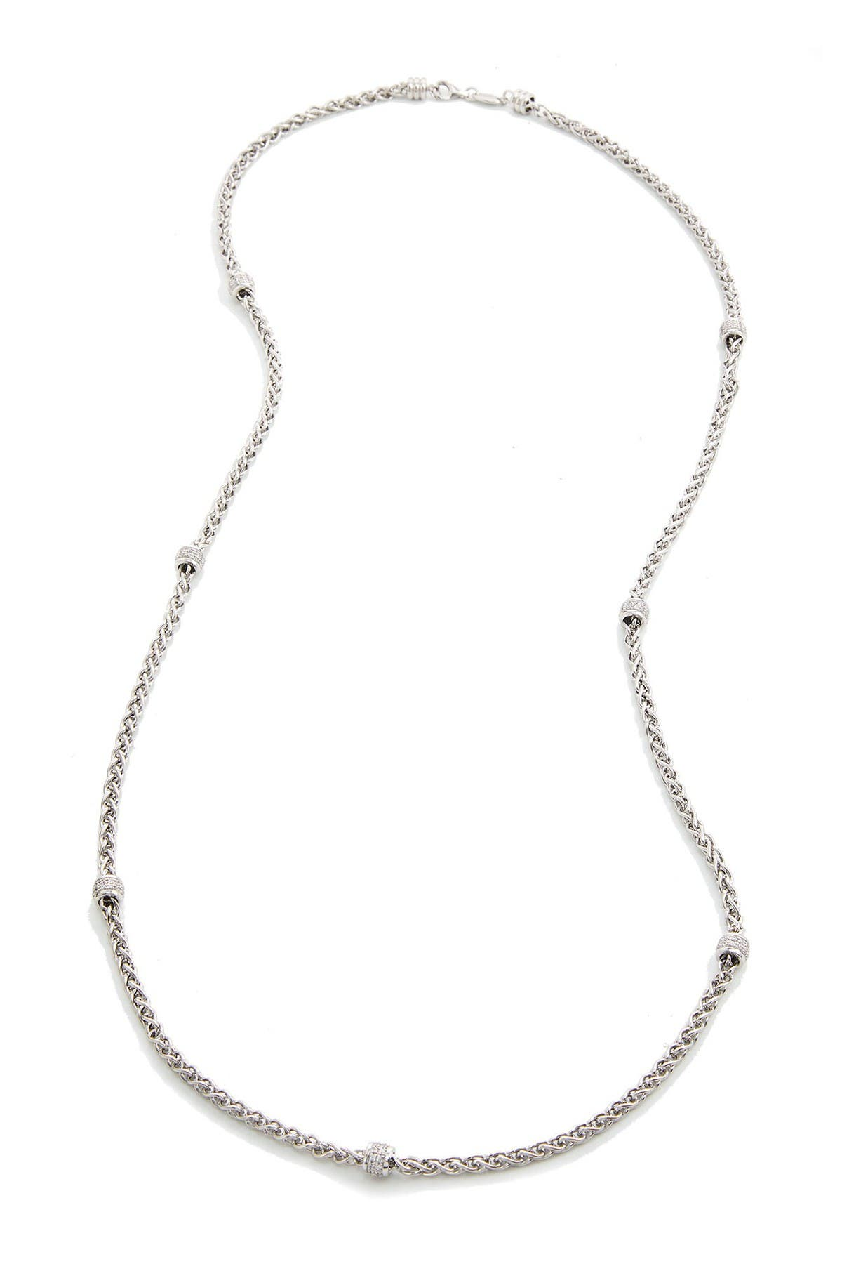 "Image of Savvy Cie Sterling Silver 36"" Wheat CZ Chain Necklace"