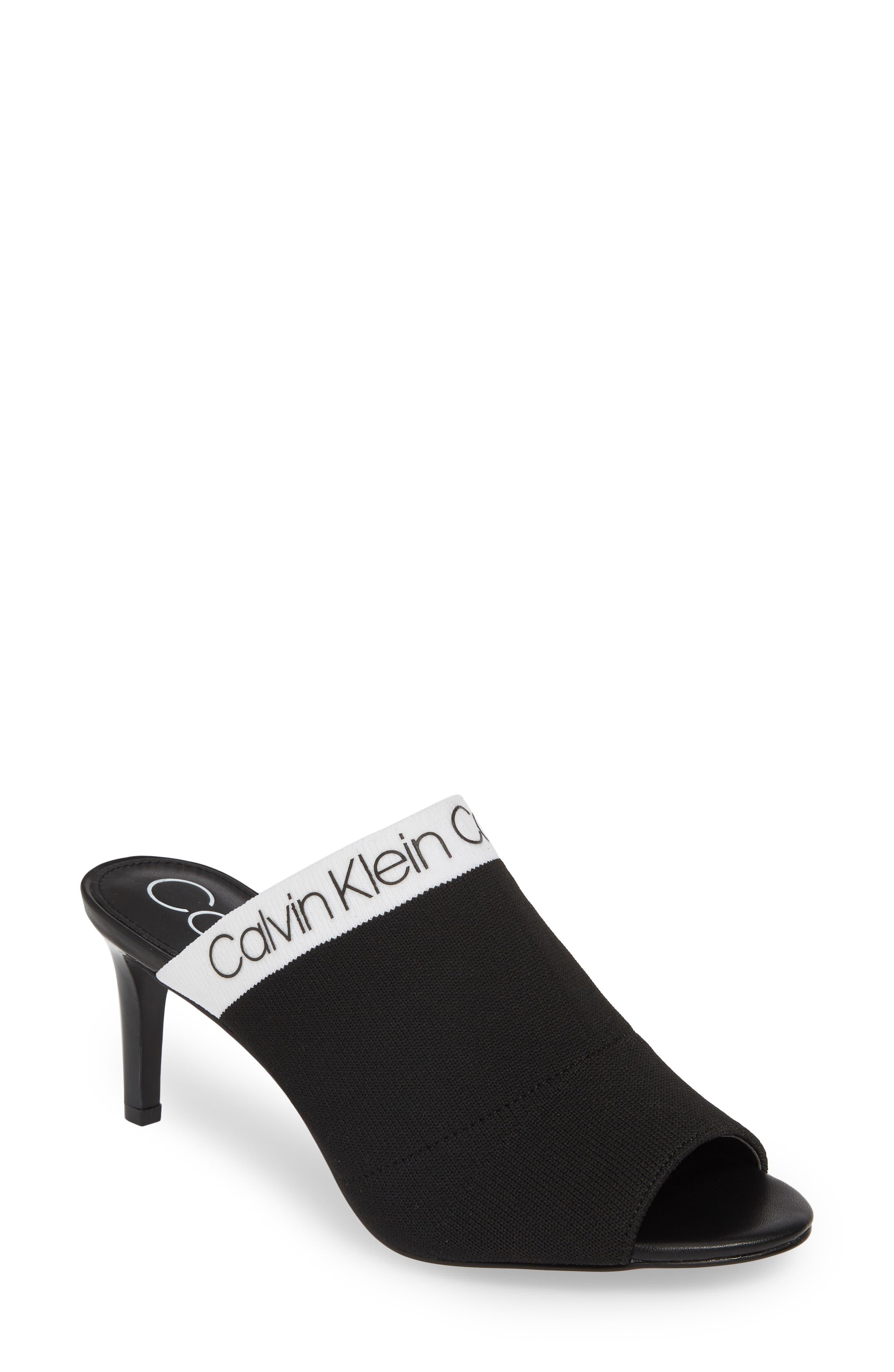 Calvin Klein Coraline Peep Toe Knit Mule- Black