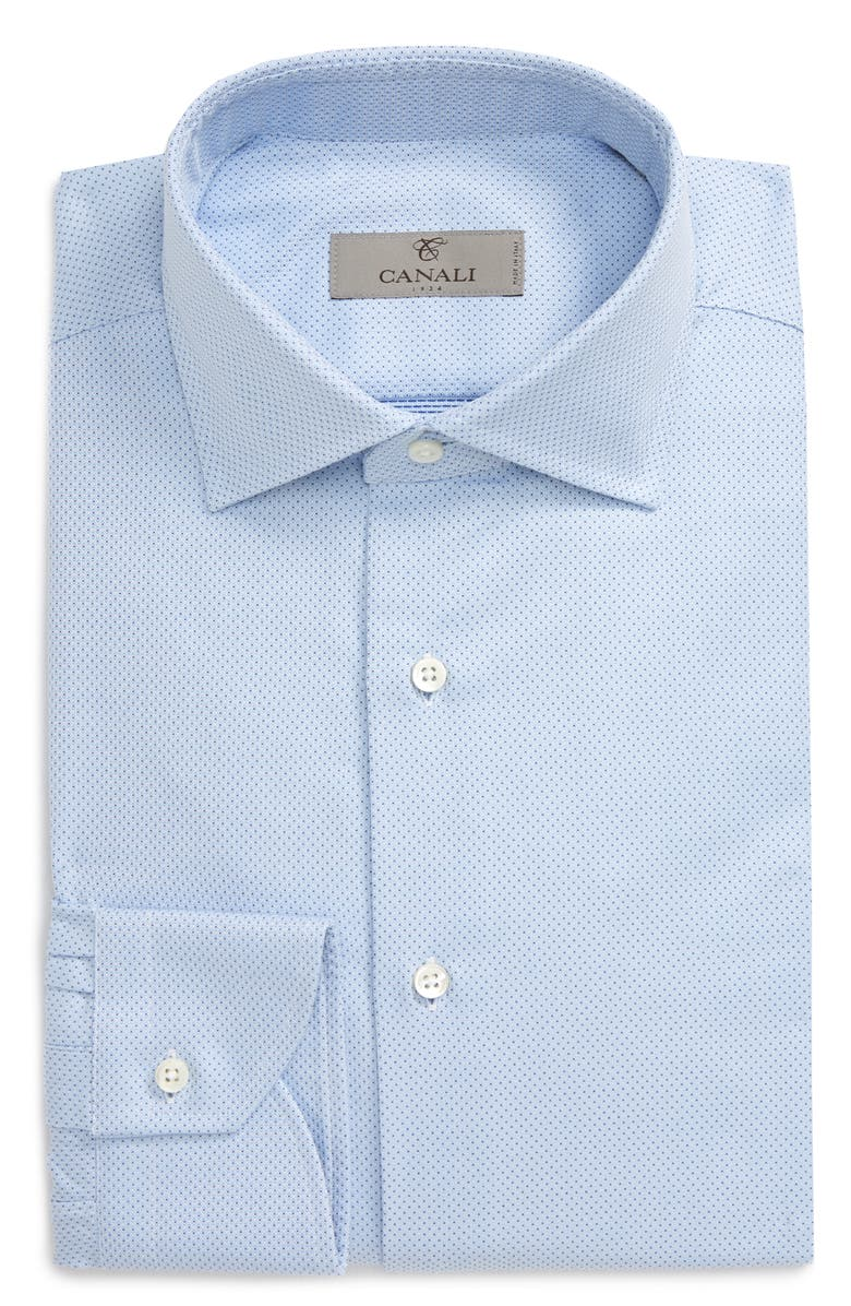 CANALI Regular Fit Geometric Dress Shirt, Main, color, LIGHT BLUE
