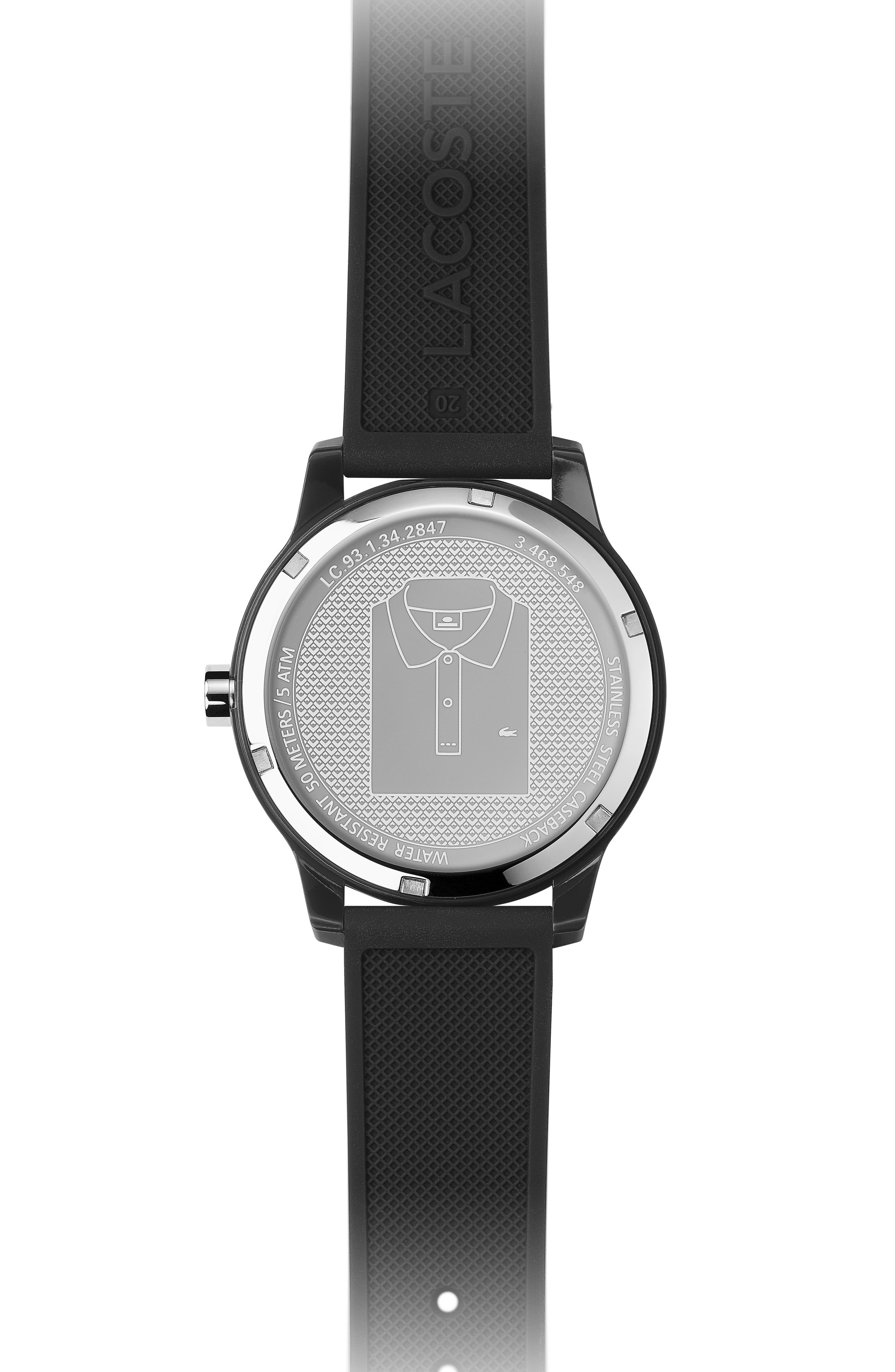 ,                             12.12 Rubber Strap Watch, 42mm,                             Alternate thumbnail 4, color,                             BLACK