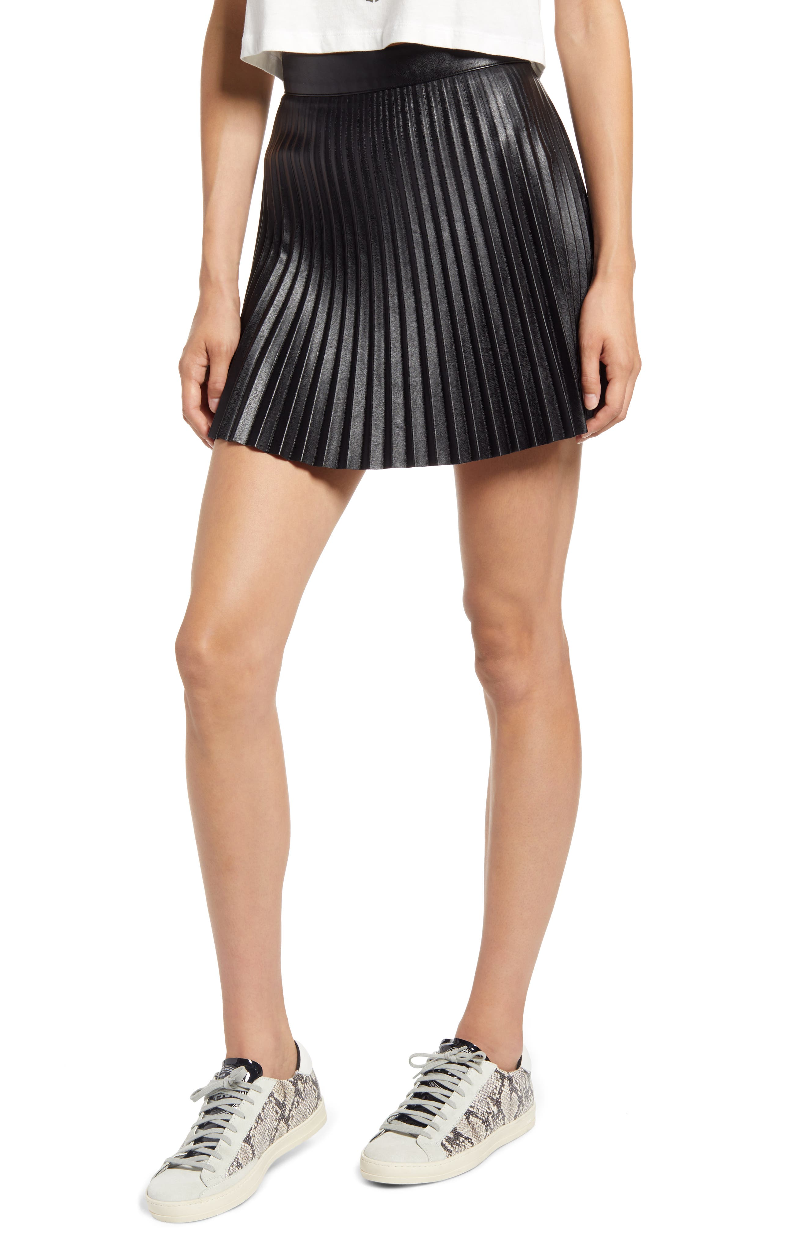 Better Luck Next Time Pleated Faux Leather Miniskirt