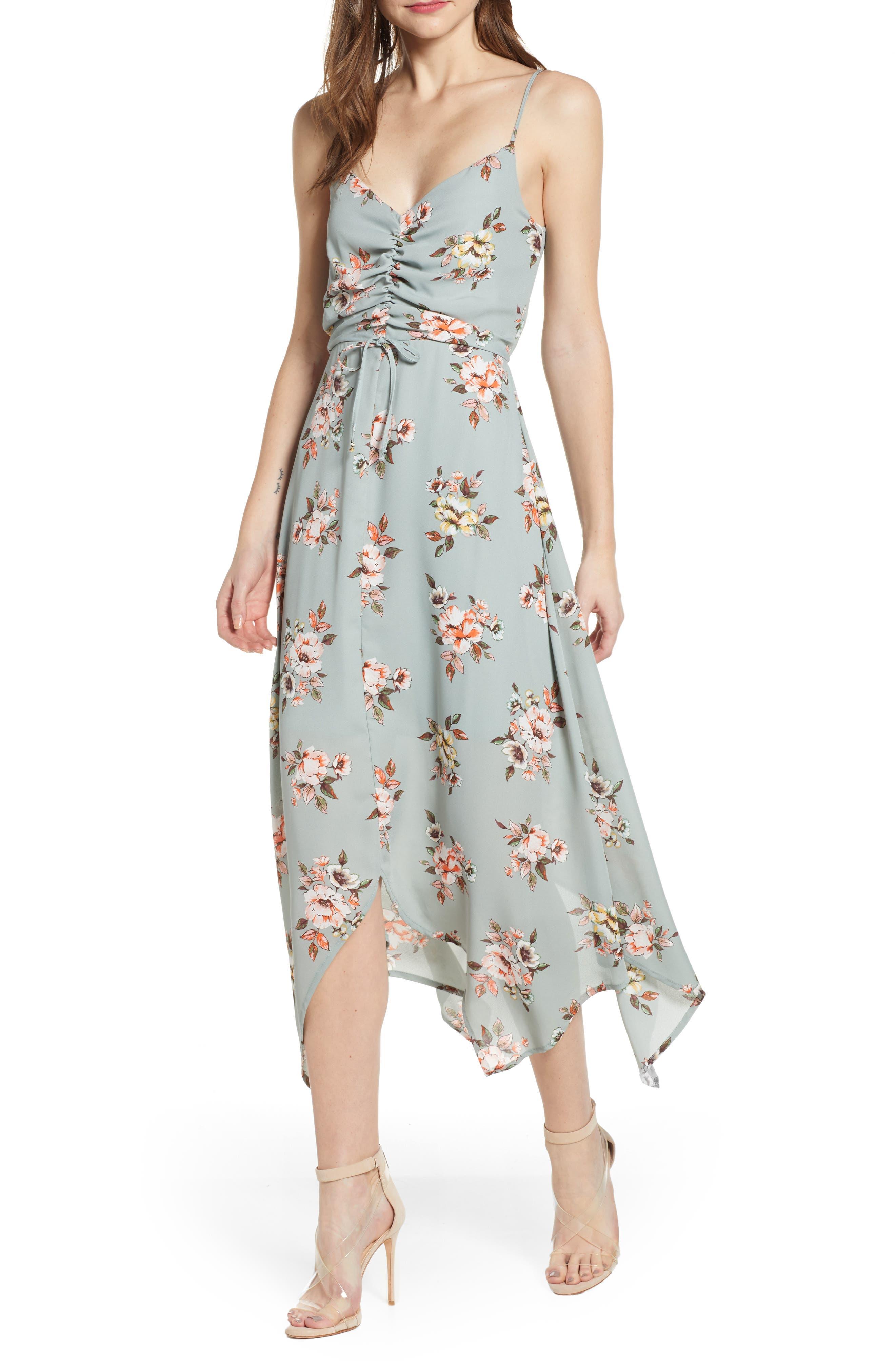 Row A Floral Cinch Front Maxi Dress