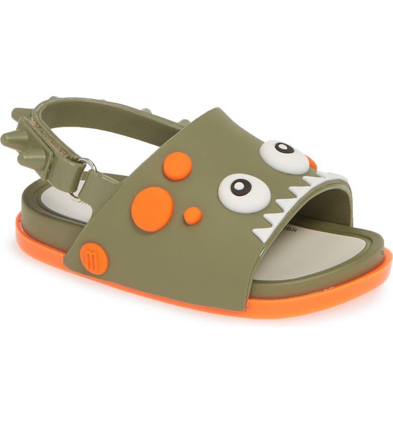 MINI MELISSA Melissa Dino Dinosaur Sandal, Main, color, MOSS GREEN/ ORANGE