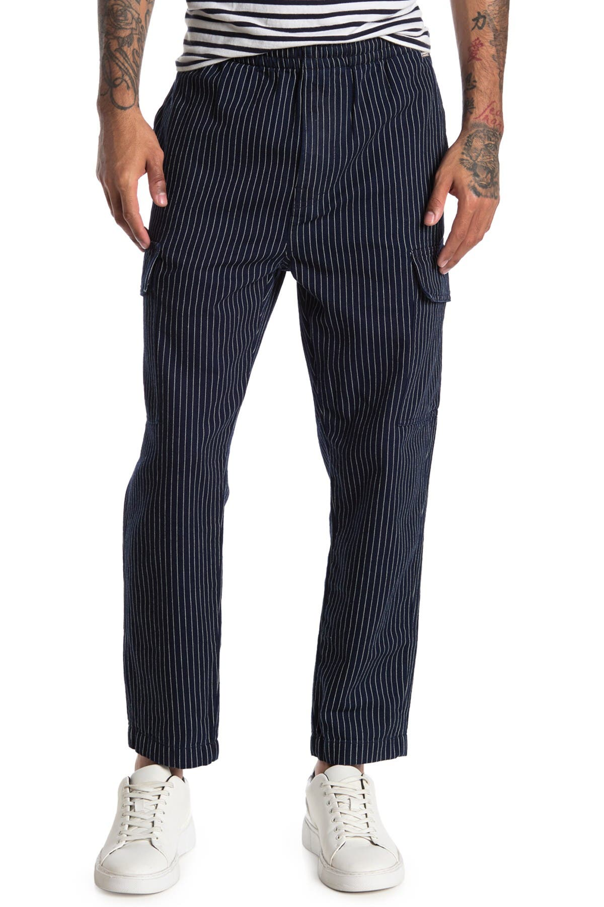 Image of Scotch & Soda AMS Pinstripe Indigo Cargo Pants